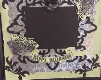 Halloween pre-made Scrapbook page, 8 x 8 inch, ready for 3 x 4 inch photo, Happy Halloween, Vintage, Shabby Chic, October 31