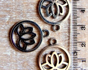 Silver-plated lotus charm