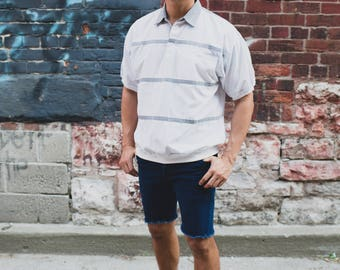 Vintage Polo Shirt / Mens Large Palm-Aire WhiteAnd Grey Striped Shirt / Casual Short Sleeved Sporty Summer Beach Golf Jock T-shirt
