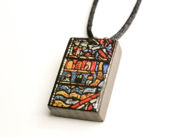 Stained Glass #2 Wooden Pendant