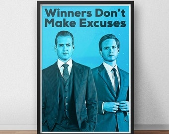 Harvey Specter - Mike Ross - Suits TV Show Poster - Winners Don't Make Excuses - TV show - Movie Poster - Tv art - Suits