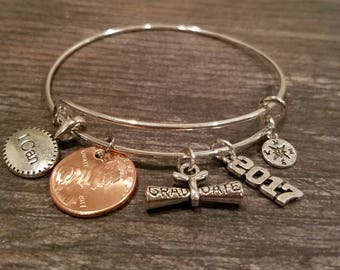 2017 Graduation Bangle, Graduation Gift, Graduation Diploma, Compass, 2017 Charm, I CAN Charm and Your Own Lucky 2017 Penny