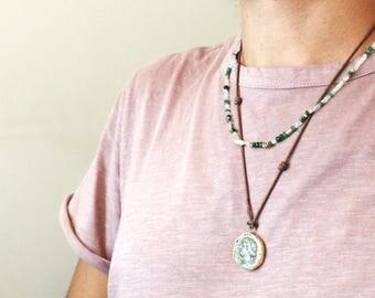 Aquamarine and Emerald Necklace with cubic zirconia, unisex casualchic.