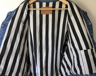 Vintage Levi Strauss denim jacket medium vertical stripes silver tab