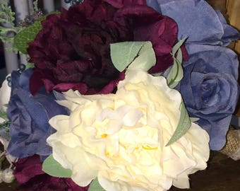 Country Rustic Wine , Navy blue, white, cream Bridal wedding Bouquet