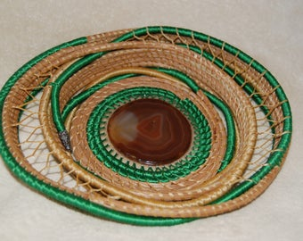 Pine needle basket whimsical green with brown agate, made in Hawaii