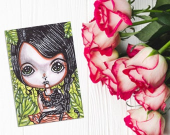 Welcome to the jungle cute girl chimpanzees jungle nature art mini illustration art collectible aceo ATC