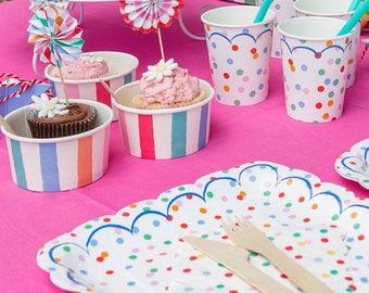 Rainbow Dot Candy or Ice Cream Cups