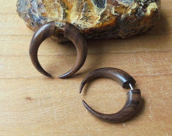Fake Gauge Earrings, Tribal Fake Earrings, Wood Fake Earrings, Wooden Accessories, Bali Jewelry, SN23