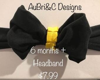 Black and Yellow Stretch Headband