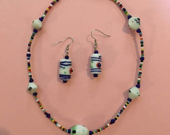 "16.5"" Rainbow Necklace&Earrings"