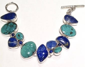Sterling Silver, Turquoise and Lapis Lazuli Bracelet