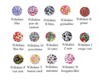 Buttons X 5 liberty Wiltshire, 14 colors and option 9 sizes, buttons cover liberty wiltshire
