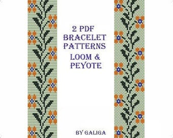 Peyote bracelet pattern Loom bracelet Floral pattern digital Pale green bracelet Peyote beading instructions Mandarin flowers Set of pattern