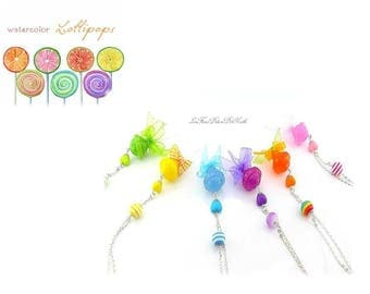 Necklaces Sweet Lollipop lollipops hand-made in resin balls purple / yellow / pink/blue in the choice