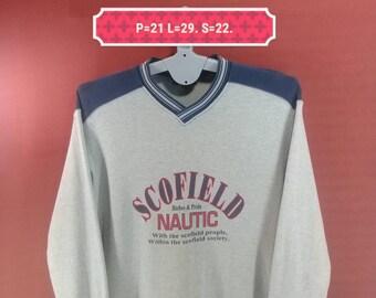 Vintage Nautic Scofield Sweatshirt Spellout Shirt Gray Blue Cross Colour Size 95 Polo Ralph Lauren Sweatshirts Adidas Nike Sweatshirts