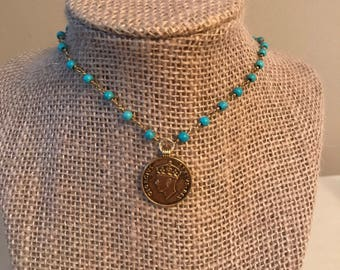 Turquoise Choke with Coin