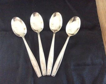 4 Large Silver Plated Serving Size Spoons