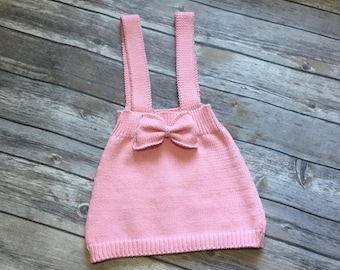 Organic cotton knitted baby skirt on straps 12m