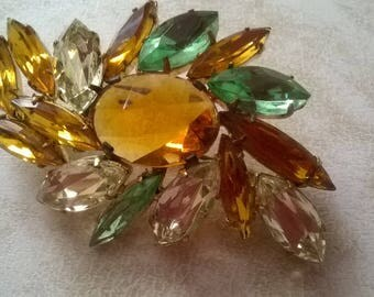 beautiful orange and green crystal brooch