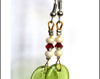 Earrings green leaves and Red tops