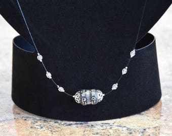 Bohemian bump Bead Necklace with crystals and buckle