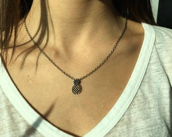 Silver plated pineapple necklace