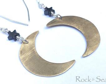 Moon and Star Earrings Moon Dangle Earrings Gold Crescent Moon Star Earrings Dangle Celestial Earrings Brass Moon Earrings Eclipse