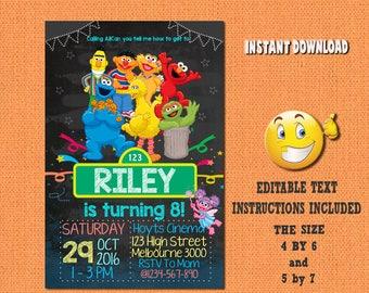Sesame Street invitation,Sesame Street ,Sesame Street birthday,Sesame Street invites,PDF editable invitation,Sesame Street party,invites