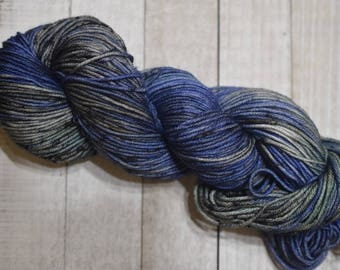 Hand-dyed, worsted weight yarn, 100% SW merino wool, 218yds, colorway *Creature*