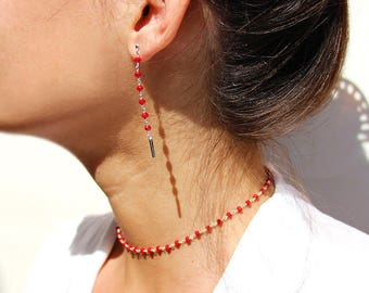 Thin Choker chain necklace choker silver and Red coral chalcedony stones