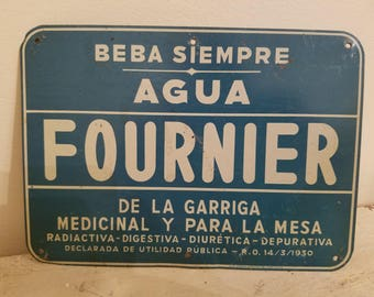 Antique Sign From Barcelona Spain Advertising Fournier Water