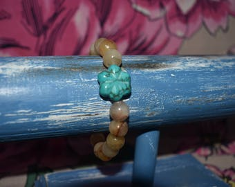 Carnelian and Turquoise flower bracelet