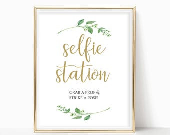 Printable Selfie Station Sign Grab a Prop Strike a Pose Wedding Reception Signs Digital Print PDF Instant Download 8x10, 5x7, 4x6 Jasmine