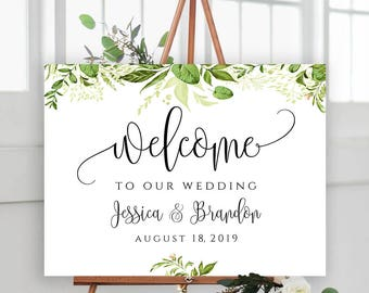 Landscape Welcome To Our Wedding Editable Wedding Signs Welcome Wedding Sign Template Welcome Sign Greenery Printable Sign Instant Download