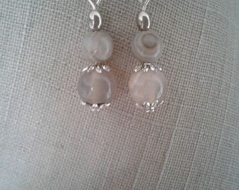 Onyx marble and 925 Sterling Silver earrings