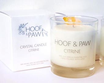 30cl Large Citrine Crystal Candle | 100% natural with essential oils | Lemongrass, Bergamot & Cedarwood