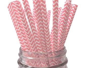 Light Pink Chevron Paper Straws - 25pc