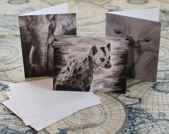 """Assorted Charcoal/Graphite Notecard Set of 9 - 5.5""""x4"""""""