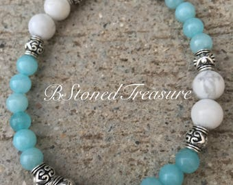 Aquamarine natural stone Swarovski crystal faith pendant bracelet