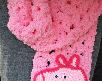 """Pink crochet scarf with """"Peppa Pig"""" inspired face, hand made"""
