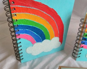Large Mixed Media Rainbow Notebook / Book/ Journal