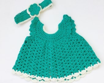 Handmade Teal Newborn Baby Dress