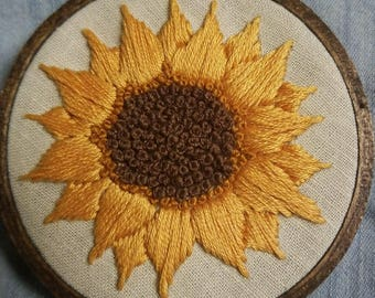 Mini embroidered sunflower hoop sunflower embroidery decor