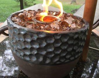 Bronze/Silver Hammered Pot