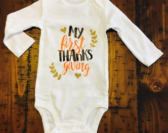 My first Thanksgiving Baby Bodysuit, Thanksgiving Bodysuit, Girl Bodysuit, First Thanksgiving Bodysuit, Custom Bodysuit, Holiday Bodysuit