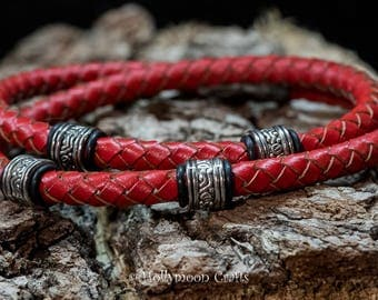Gents Red Braided Double Wrap Leather Bracelet