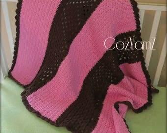 Super Soft baby blanket, crochet baby blanket, pink and brown blanket, newborn blanket, infant blanket, striped baby blanket, ready to ship