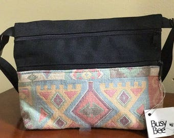 Hand crafted Geometric Pattern Pink Blue Hip Bag