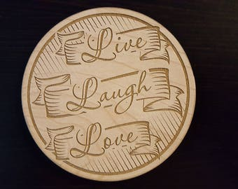 Live Laugh Love Wooden Drink Coasters for any occasion.  Set of 6